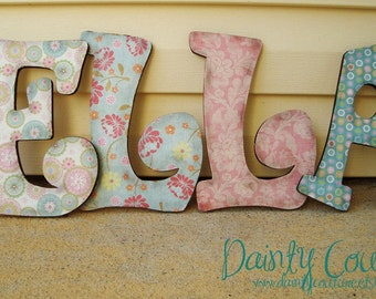 Customized Distressed Wooden Letters for girls or boys - Pinks, greens, and blues or Custom made to match your decor
