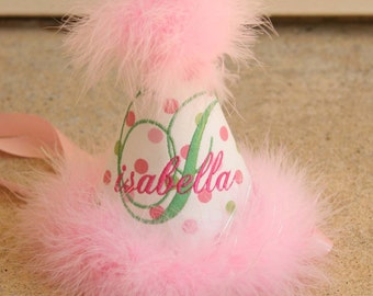 Birthday Party Hat Pink and Green Polka Dots, Feather Trim - beautiful personalization
