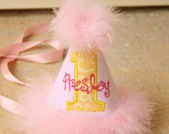 Girls First Birthday Hat - Pink, white, and yellow - Lemonade or Sunshine theme  - Free Personalization
