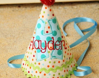 Boys Birthday Party Hat - Preppy dots in red, aqua, orange, and green - Free personalization