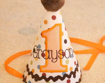 Boys 1st Birthday Party Hat - Fall colors in brown, orange, gold, and red dots - Free personalization