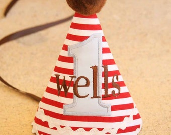 Boys 1st Birthday Party Hat - Classic Sock Monkey Theme - Red, blue, brown - Perfect compliment to Eric Michael Moda Fabrics