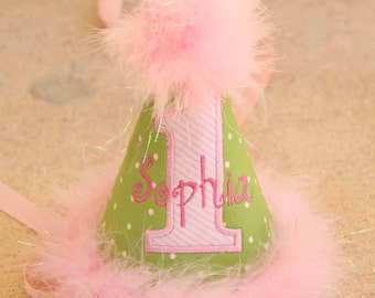 First Birthday Party Hat - Green dots and pink stripes - Free personalization