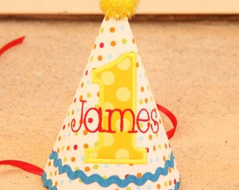 First birthday hat - Red, blue, green, aqua, yellow dots - Free personalization