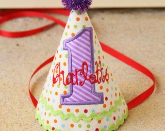 Girls First Birthday Party Hat - Darling dots and stripes in red, purple, green, and aqua
