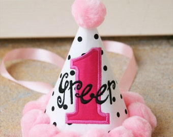 Girls First Birthday Party Hat - Darling dots in black, white, and pink