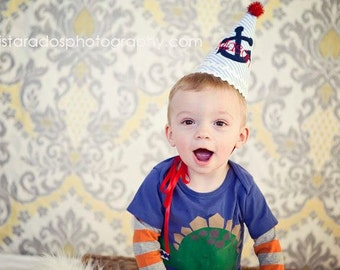Boys Birthday Party Hat - M2M Nautical Theme, blue, red, white - Completely Custom