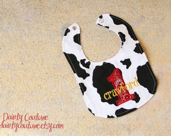 Boys first birthday bib - Cowboy theme in black, white, and red bandana - Free personalization - Keepsake