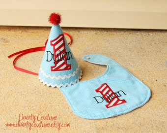 Boys 1st Birthday Party Hat and Bib - Darling light aqua blue dots and red and white stripes