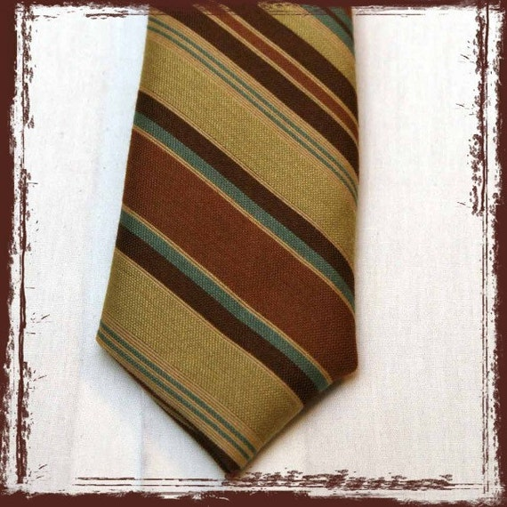 LITTLE MAN NECK TIE (infant to tween) Gold, Green, Turquoise, and Brown Retro Stripes or you pick the fabric (boys necktie)
