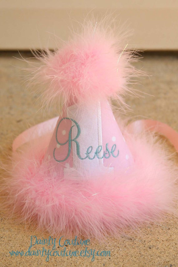 First Birthday Party Hat - So Sweet Pink and White Dots with Aqua - Free personalization