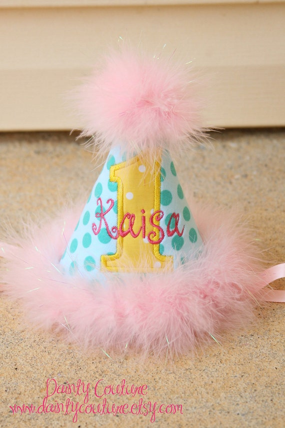 Custom Birthday Party Hat in Michael Miller Aqua Ta Dot, yellow, and pink - applique and monogram included