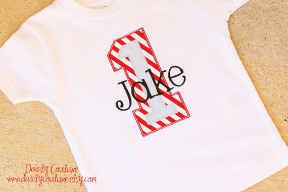 First Birthday Party Shirt - Red and white stripes with blue accents - Free personalization