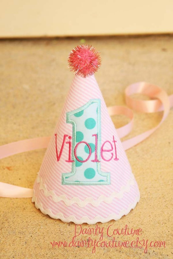 Girl First Birthday Hat - Pink and white stripes with aqua and hot pink accents - Michael Miller aqua ta dots fabric