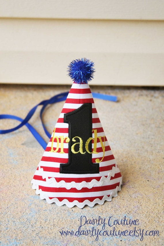 Boys First Birthday Party Hat -Mickey Mouse themed hat with red, black, yellow, and blue - Free personalization