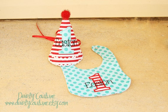 Boys 1st Birthday Party Hat and Bib - Fun red and white stripes with aqua dots - Circus Theme