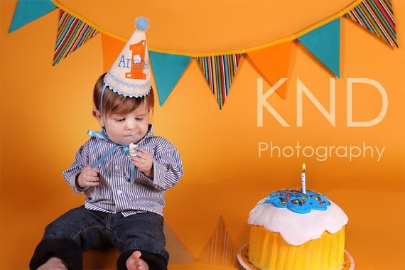 Boys First Birthday Hat - Yellow stripes with blue and orange accents - Free personalization