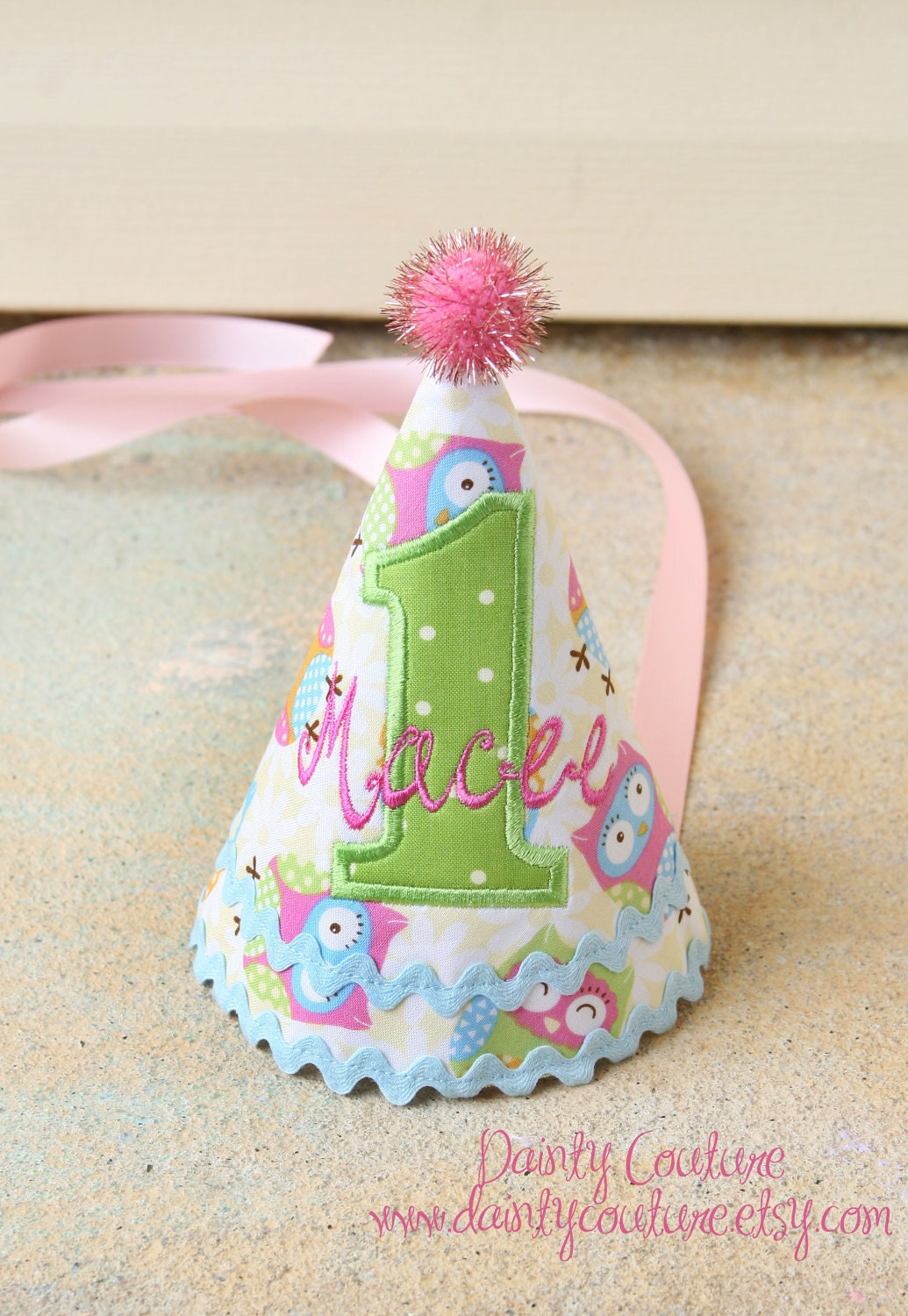 girls first birthday party hat owl themed hat in pastel