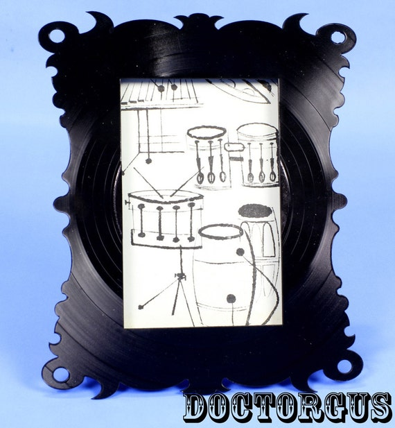 Recycled Record Picture Frame -- Cut From Old Vintage Vinyl LP's -- A Recycled Creation By DOCTORGUS