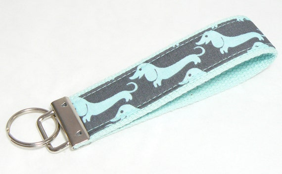 Key Fob Keychain Wristlet  Wiener Dog Dachshund on Gray Fabric on Aqua Blue Cotton Webbing