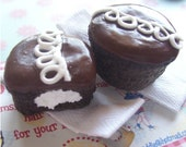 Tiny chocolate snack cakes barrettes PAIR