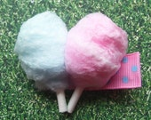 fluffy pink and blue cotton candy on-a-stick barrette