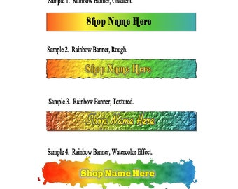 Bright Rainbow Colored Banner and Avatar Set For Your Etsy Shop, Four Piece Set