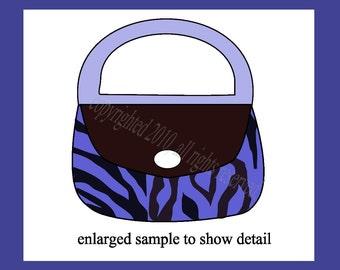 Make 3D Stickers.  Zebra Stripes Purse Collage, in Blue, Original Design