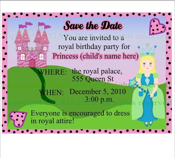 You Print It, Pretty Princess Party Invitations, Customizable, All Skin Tones