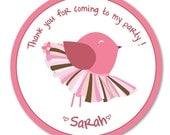 DIY Printable Pink bird Birthday Party Favor/Goodie Bag Tags