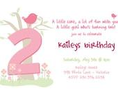Custom printable bird birthday invitation