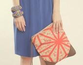 NOMAD Collection - STELLA Leather & Kimono Clutch geometric shibori tie dye