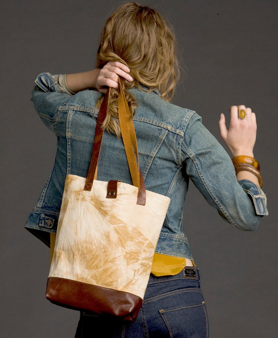 SALE Canvas & Leather Naturally Dyed Tote Bag