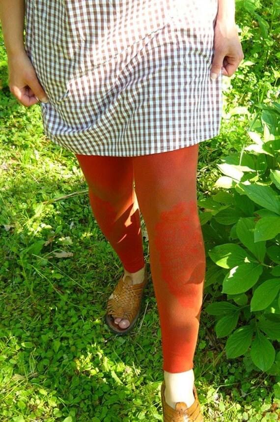 RESERVED for carmen: rust doily printed leggings