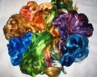 Tussah silk rovings,  multi-packs,  2 ounces