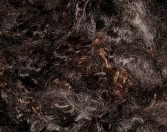 Mohair,  black,  1 ounces,  - 6 inch staple