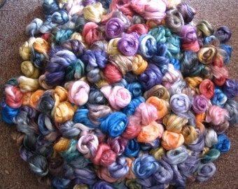 SALE--Silk / Seacell 40-60 Roving, hand dyed,  (2 ounces)