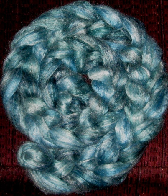 Silk / Seacell 40-60 Roving, hand dyed,  (2 ounces) Aquamarine