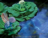 PRINT ONLY - Waterbabies - Fairy Art - Surrealism or Magical Realism, Water Fairy Fantasy Art of baby fairies in water lettuce
