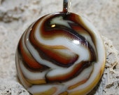FALL FANTASY Fused Glass Pendant -- Art Glass By YM