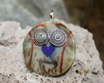 OUTRAGEOUS OWL Fused Glass Pendant -- Art Glass By YM