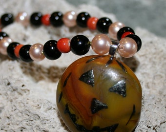 Jack-O'-Lantern PUMPKIN Happy Halloween Fused Glass Pendant With Beaded Necklace --Art Glass By YM