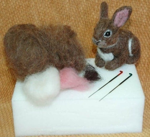 OOAK Needle Felted BUNNY Rabbit KIT 4 Beginner - Expert Felters.  Felting Instruction book  plus supplies to make your own Needle felted Felted Cottontail bunny by Amber