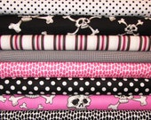 Hula Scull and Crossbones, Pink and Black, Alexander Henry, 1/2 yard each, 4 yards