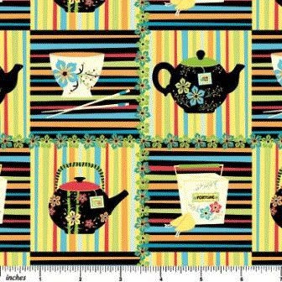 Chinese Takeout Bright Teapots Stripes Fortune Cookies Sheri Berry