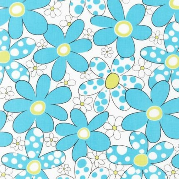 Piece O' Cake Fabric DAISIES and DOTS  -  Aqua Floral 33 inches , SALE