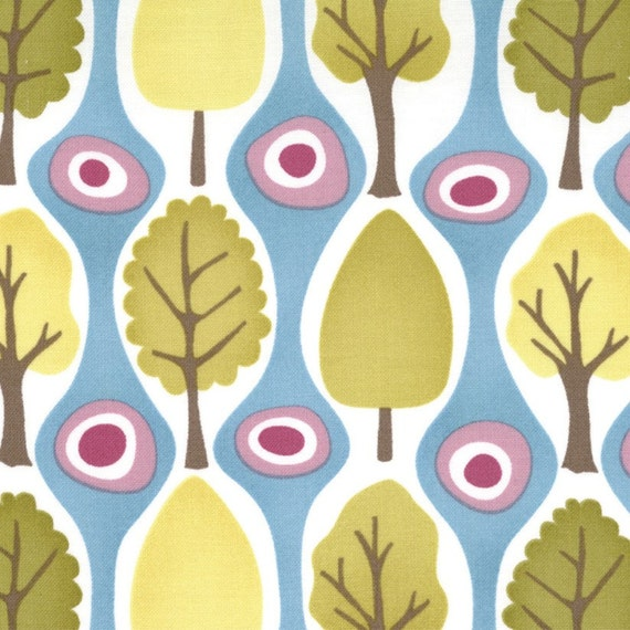 Kate Spain Fabric CENTRAL PARK LINDEN  Trees Metro Moda Designer Fabric -  7/8 yard, Sale