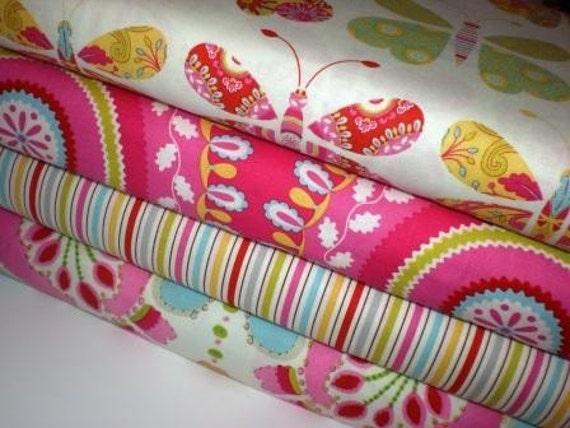 Dena Designs Kumari Garden Butterfly  Pink  1/2 yard set of 4