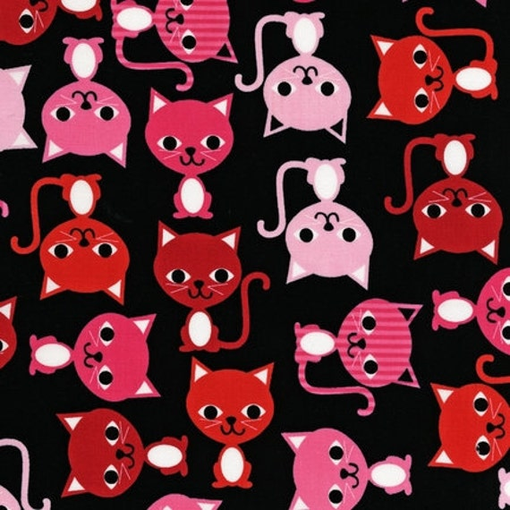 URBAN ZOOLOGIE  Sassy Kitty Cats Licorice by Ann Kelle Fabric  Sale