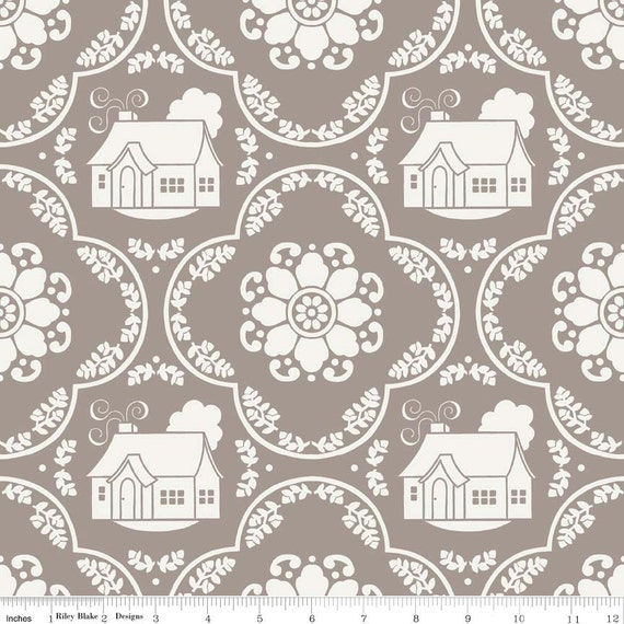 Daisy Cottage Cottage Damask Gray by Lori Holt, Riley Blake Fabrics, 7/8 Yard, SALE
